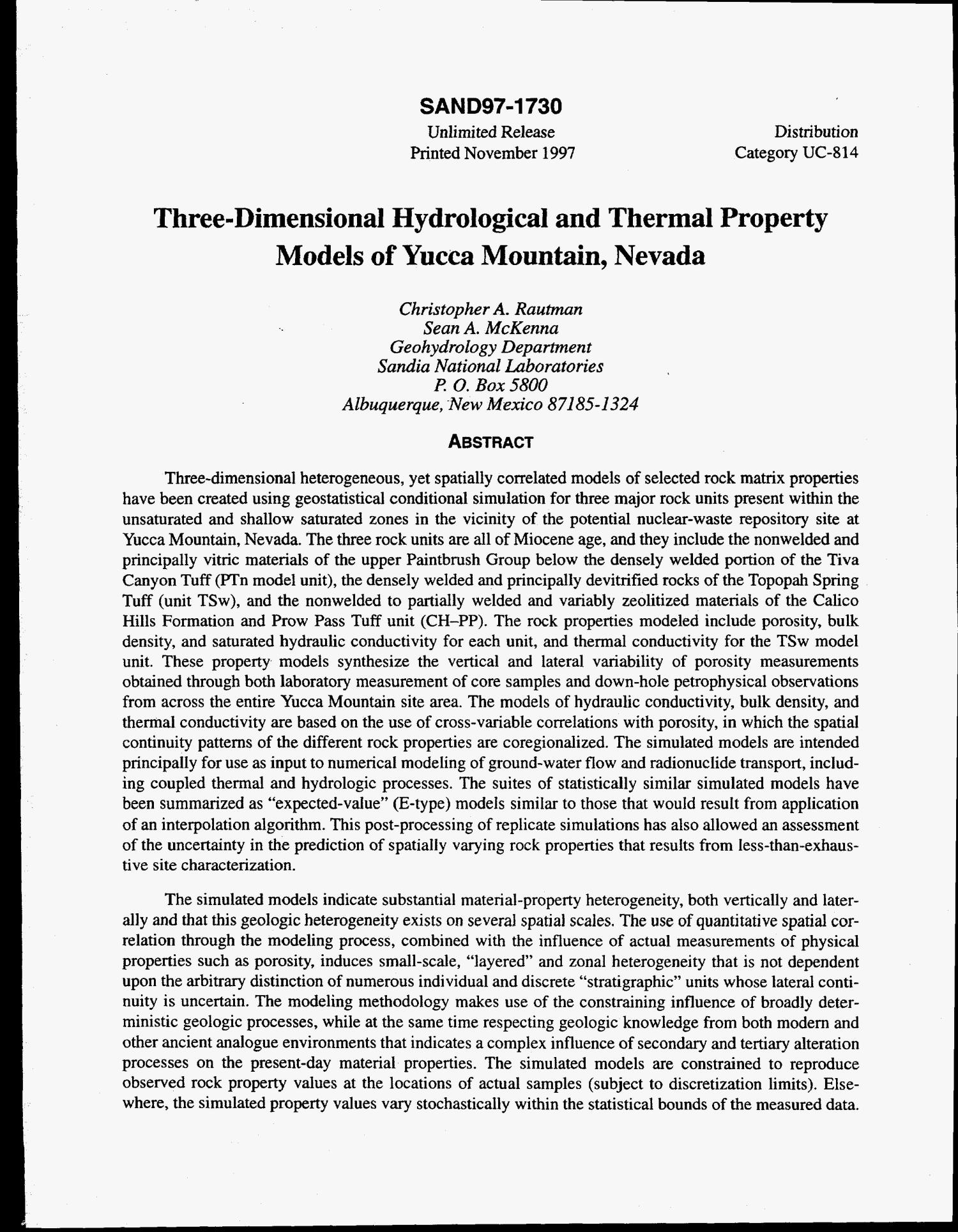 Three-dimensional hydrological and thermal property models of Yucca Mountain, Nevada                                                                                                      [Sequence #]: 4 of 351