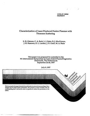 Primary view of object titled 'Characterization of laser-produced fusion plasmas with thomson scattering'.