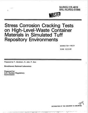 Primary view of object titled 'Stress corrosion cracking tests on high-level-waste container materials in simulated tuff repository environments'.