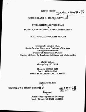 Primary view of object titled 'Strengthening programs in science, engineering and mathematics. Third annual progress report'.