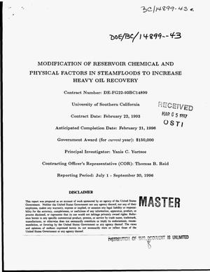 Primary view of object titled 'Modification of reservoir chemical and physical factors in steamfloods to increase heavy oil recovery'.