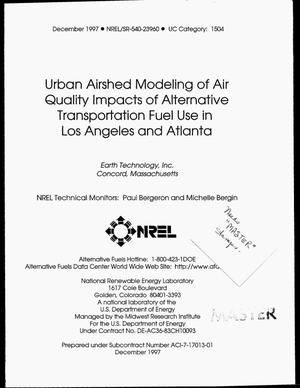 Primary view of object titled 'Urban airshed modeling of air quality impacts of alternative transportation fuel use in Los Angeles and Atlanta'.