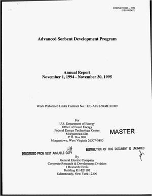 Primary view of object titled 'Advanced sorbent development program. Annual report, November 1, 1994--November 30, 1995'.