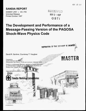 Primary view of object titled 'The development and performance of a message-passing version of the PAGOSA shock-wave physics code'.