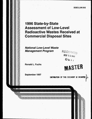 Primary view of object titled '1996 state-by-state assessment of low-level radioactive wastes received at commercial disposal sites'.