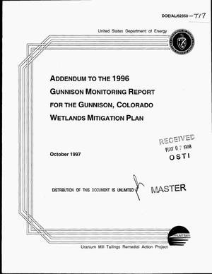 Primary view of object titled 'Addendum to the 1996 Gunnison Monitoring Report for the Gunnison, Colorado Wetlands Mitigation Plan'.