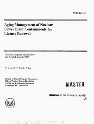 Primary view of object titled 'Aging management of nuclear power plant containments for license renewal'.