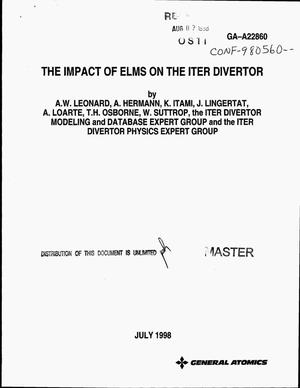 Primary view of object titled 'The impact of ELMs on the ITER divertor'.