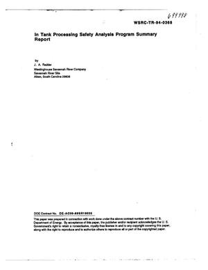 Primary view of object titled 'In tank processing safety analysis program summary report. Revision 2'.