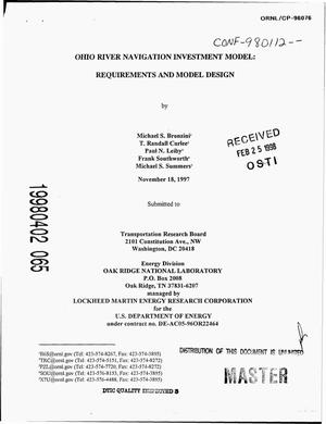 Primary view of object titled 'Ohio River navigation investment model: Requirements and model design'.
