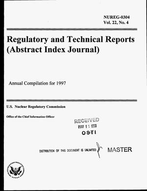Primary view of object titled 'Regulatory and technical reports (abstract index journal): Annual compilation for 1997. Volume 22, Number 4'.