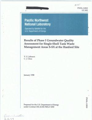 Primary view of object titled 'Results of Phase I groundwater quality assessment for single-shell tank waste management Area S-SX at the Hanford Site'.