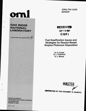 Primary view of object titled 'Fuel qualification issues and strategies for reactor-based surplus plutonium disposition'.