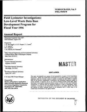 Primary view of object titled 'Field lysimeter investigations: Low-level waste data base development program for fiscal year 1996. Annual report; Volume 9'.