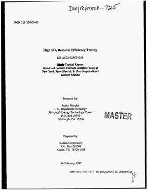 Primary view of object titled 'High SO{sub 2} removal efficiency testing. Topical report - results of sodium formate additive tests at New York State Electric & Gas Corporation`s Kintigh Station'.