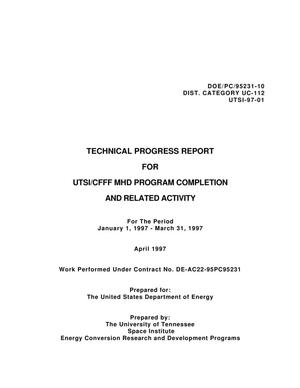 Primary view of object titled 'UTSI/CFFF MHD Program Completion and Related Activity'.