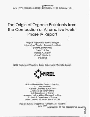 Primary view of object titled 'The origin of organic pollutants from the combustion of alternative fuels: Phase IV report'.