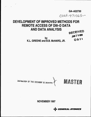 Primary view of object titled 'Development of improved methods for remote access of DIII-D data and data analysis'.