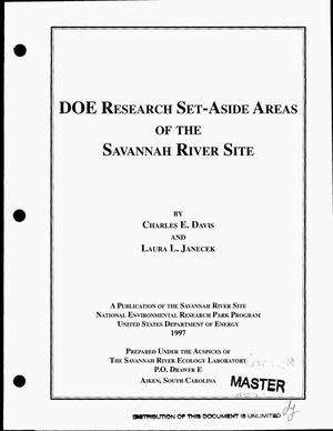 Primary view of object titled 'DOE Research Set-Aside Areas of the Savannah River Site'.
