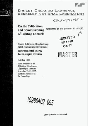 Primary view of object titled 'On the calibration and commissioning of lighting controls'.