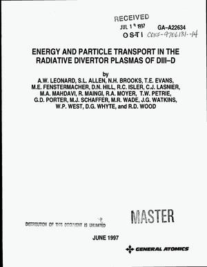 Primary view of object titled 'Energy and particle transport in the radiative divertor plasmas of DIII-D'.