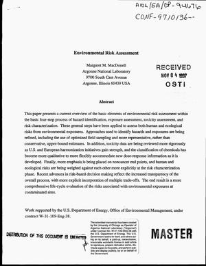 Primary view of object titled 'Environmental risk assessment'.