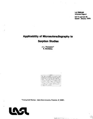 Primary view of object titled 'Applicability of microautoradiography to sorption studies'.
