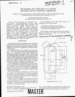 Primary view of object titled 'Development and fabrication of a Bi-2223 racetrack coil for generator applications'.