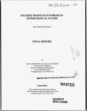 Primary view of object titled 'Fischer-Tropsch synthesis in supercritical fluids. Final report'.