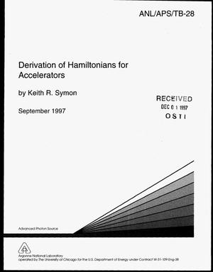 Primary view of object titled 'Derivation of Hamiltonians for accelerators'.