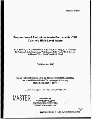 Primary view of object titled 'Preparation of plutonium waste forms with ICPP calcined high-level waste'.