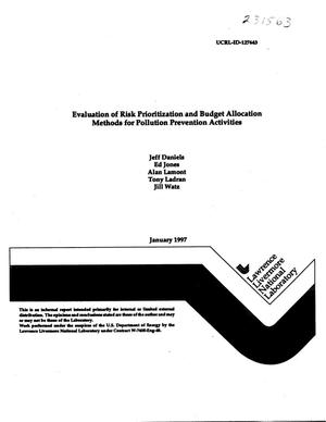 Primary view of object titled 'Evaluation of risk prioritization and budget allocation methods for pollution prevention activities'.