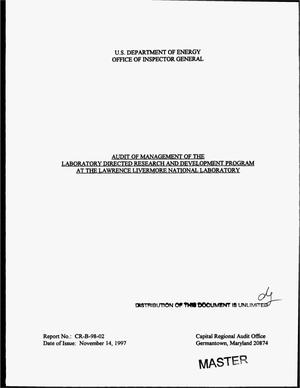 Primary view of object titled 'Audit of management of the laboratory directed research and development program at the Lawrence Livermore National Laboratory'.
