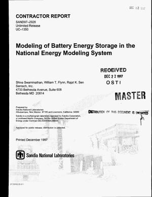 Primary view of object titled 'Modeling of battery energy storage in the National Energy Modeling System'.