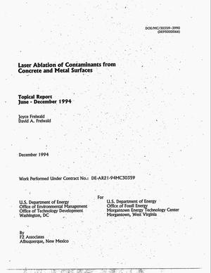 Primary view of object titled 'Laser ablation of contaminants from concrete and metal surfaces. Topical report, June--December 1994'.