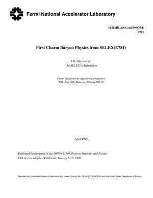 Primary view of object titled 'First charm baryon physics from SELEX(E781)'.