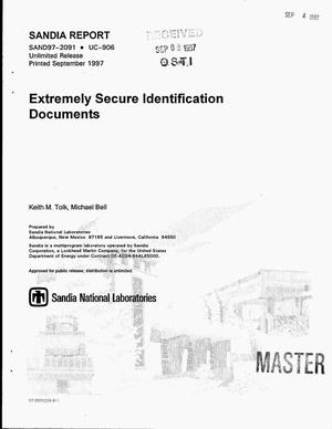 Primary view of object titled 'Extremely secure identification documents'.