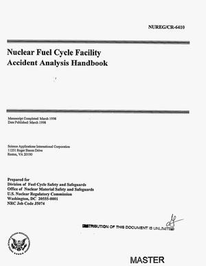 Primary view of object titled 'Nuclear fuel cycle facility accident analysis handbook'.