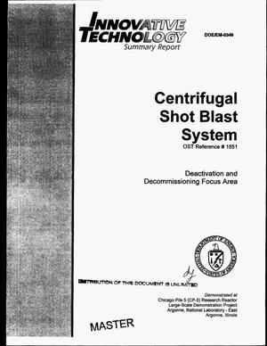 Primary view of object titled 'Centrifugal shot blast system'.