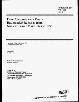 Primary view of object titled 'Dose commitments due to radioactive releases from nuclear power plant sites in 1991. Volume 13'.