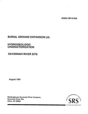 Primary view of object titled 'Burial Ground Expansion Hydrogeologic Characterization'.