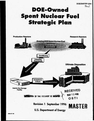 Primary view of object titled 'DOE-owned spent nuclear fuel strategic plan. Revision 1'.
