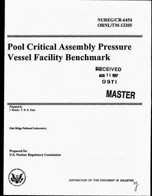Primary view of object titled 'Pool critical assembly pressure vessel facility benchmark'.