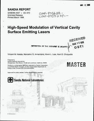 Primary view of object titled 'High-speed modulation of vertical cavity surface emitting lasers'.