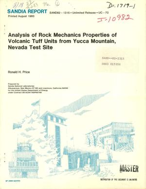 Primary view of object titled 'Analysis of the rock mechanics properties of volcanic tuff units from Yucca Mountain, Nevada Test Site'.