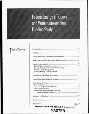 Primary view of object titled 'Federal energy efficiency and water conservation funding study'.
