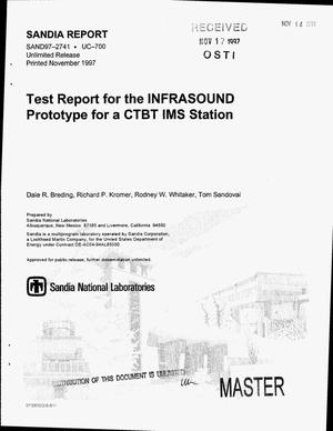 Primary view of object titled 'Test report for the infrasound prototype: For a CTBT IMS station'.
