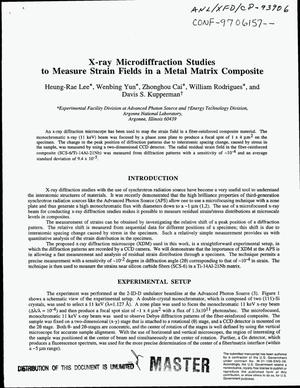Primary view of object titled 'X-ray microdiffraction studies to measure strain fields in a metal matrix composite'.