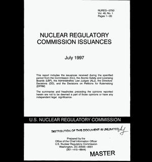 Primary view of object titled 'Nuclear Regulatory Commission issuances. Volume 46, Number 1'.