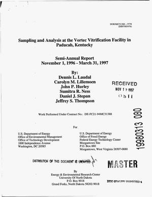 Primary view of object titled 'Sampling and Analysis at the Vortec Vitrification Facility in Paducah, Kentucky. Semiannual report, November 1, 1996--March 31, 1997'.